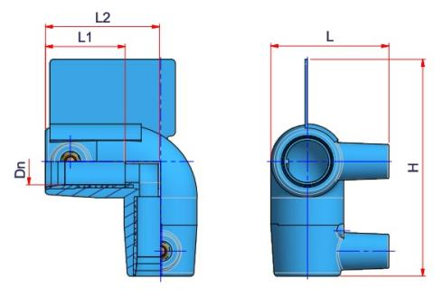 90° Electrofusion Elbow - Dn 20 Dimensioned drawing 2D