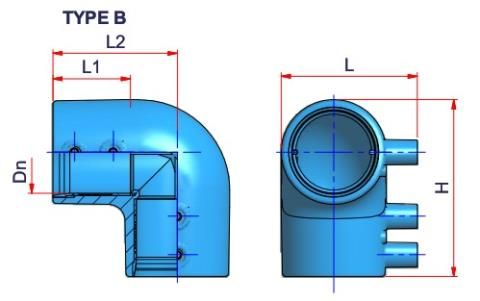 90° Electrofusion Elbow - Dn 40 Dimensioned drawing 2D