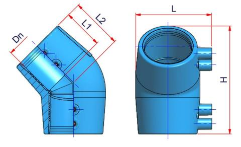 45° Electrofusion Elbow - Dn 40 Dimensioned drawing 2D