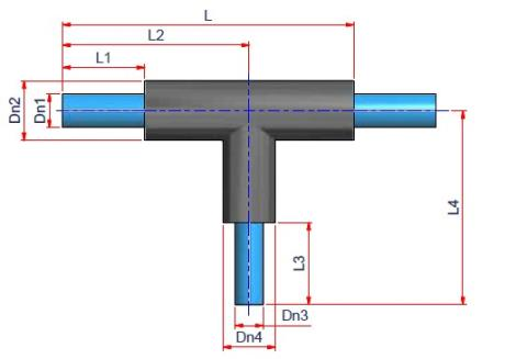 Preinsulated 90° Reducing Tee - NIRON FG 7,4 Dimensioned drawing 2D