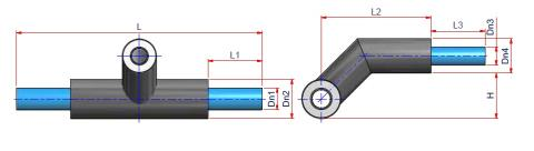 Preinsulated Crossover 90° Reducing Tee - NIRON OB FG 7,4 Dimensioned drawing 2D