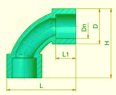 Bend 90° DN 20 - sdr 11 Dimensioned drawing 2D