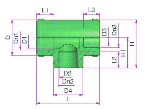 Reduced Tee (type B) Dimensioned drawing 2D