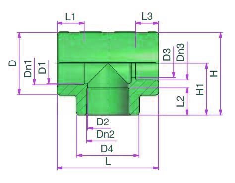 Reduced Tee (type C) Dimensioned drawing 2D