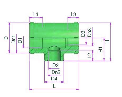 Reduced Tee (type D) Dimensioned drawing 2D
