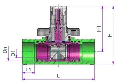 Extractable Ball Valve Dn=20 Dimensioned drawing 2D