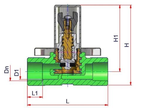Complete Stop Valve Dn=20 Dimensioned drawing 2D