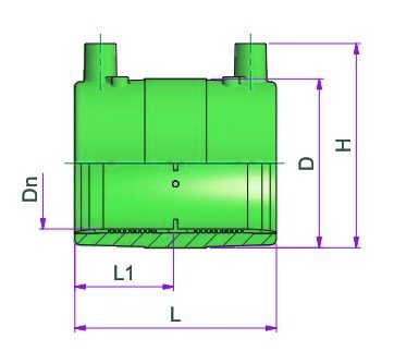 Electriofusion Coupler - Dn 20 Dimensioned drawing 2D