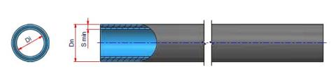 Niron Fiber PP-RP Fiber glass Pipe UV Ray Barrier DN 160 - SDR 17 - S 8 - (PN10) Dimensioned drawing 2D