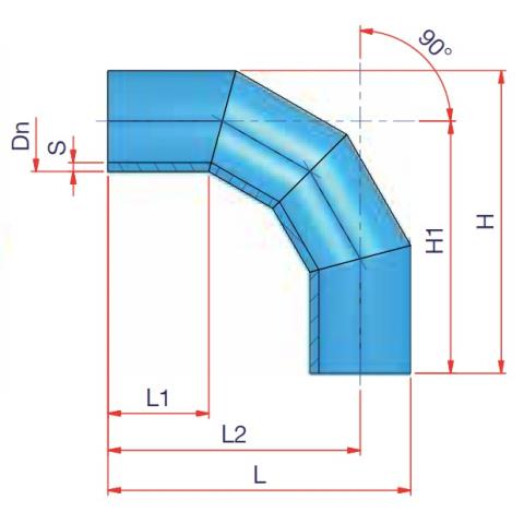 90° Elbow DN 250 - sdr 11 Dimensioned drawing 2D