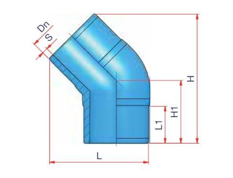 45° Elbow (B) - Dn 160 - PN 16 Dimensioned drawing 2D