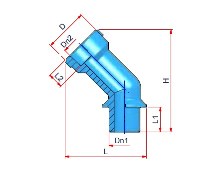 Male/Female 45° Elbow Dimensioned drawing 2D
