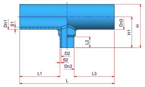 Reduced Tee (type E) Dimensioned drawing 2D