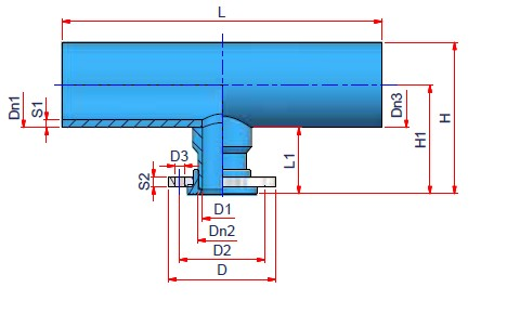 Reduced Flanged Tee Dimensioned drawing 2D