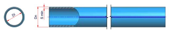 Niron Fiber Blue PP-RP Fiber Glass Pipe DN 160 - SDR 17 - S 8 - (PN10) Dimensioned drawing 2D