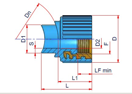 Saddle Female Threaded - Dn 40 Dimensioned drawing 2D