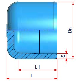 End Cap (type B) - Dn 160 Dimensioned drawing 2D