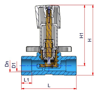 Extended Stop Valve - Dn 20 Dimensioned drawing 2D