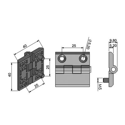 Leaf hinge (40x40-one side itsself screw) Technical Picture 2D