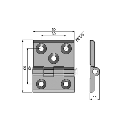Leaf hinge (50x63) Technical Picture 2D