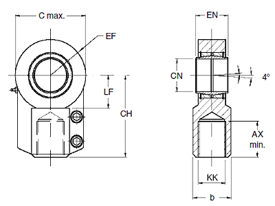 Rod Eye with Spherical Bearing, Roundline Cylinders, MMB Series, bore 40, mm Dimensional drawing 2D