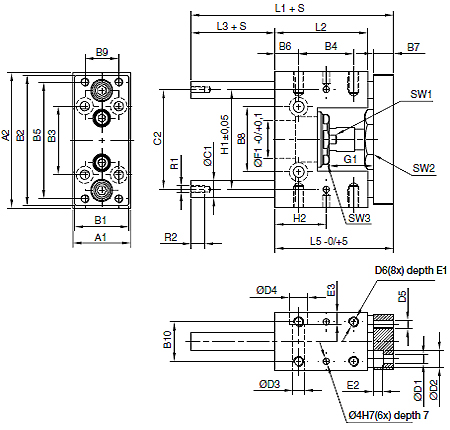 U style guidance modules for P1A cylinder, plain bearings, cylinder bore 12mm, stroke 10mm  Dimensional drawing 2D