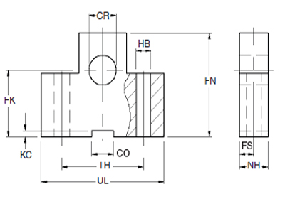 Trunnion Block, Roundline Cylinders, MMB Series, bore 40 mm Dimensional drawing 2D