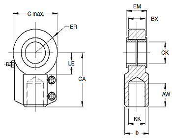 Rod Eye with Plain Bearing, MMB Series, bore 40 mm Dimensional drawing 2D