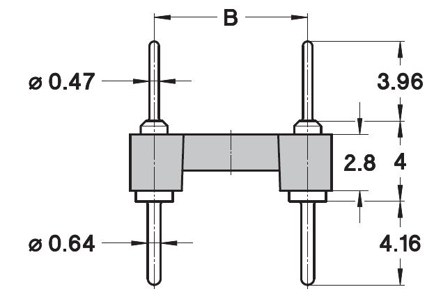 Dual-In-Line Pin Headers, Open frame / Solder tail, 10 poles, Tin / Flash Gold, e = 5.08 mm Front View - Fig. 1 2D