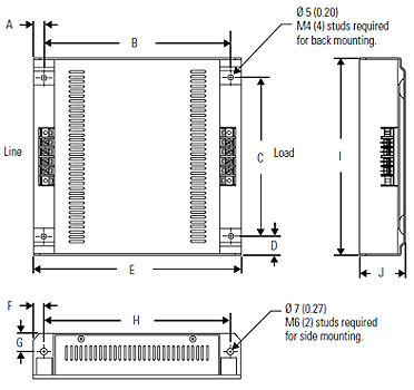 AC line filter HV323 Dimensional drawing 2D