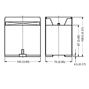 MSR124RT, 1 N.C., 2 N.C., Light Curtain Dimensional drawing 2D