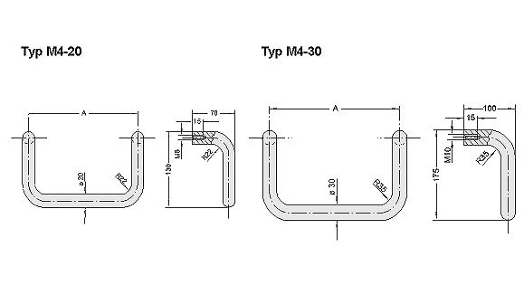 Aluminium bow type handles, Handle series M4, natural coloured anodized, A=200 Diagram 2D