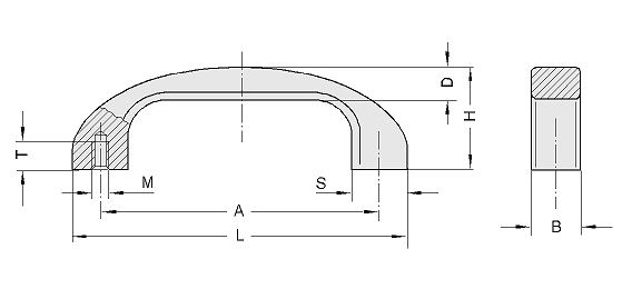 Plastic bow type handles, Handle series PB Diagram 2D