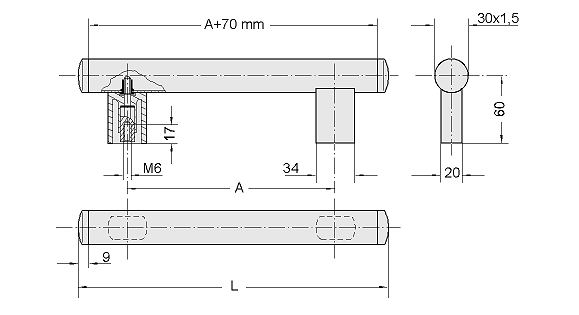 Handles of single elements, tube handle series U1 Diagram 2D