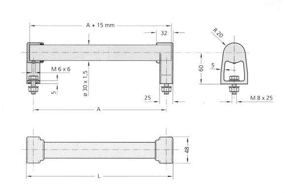 Stainless steel handles, Handle series ES Diagram 2D