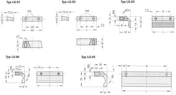 Front panel handles, ledge handles and casing feet, Ledge handles LG-01 to LG-05 Diagram 2D