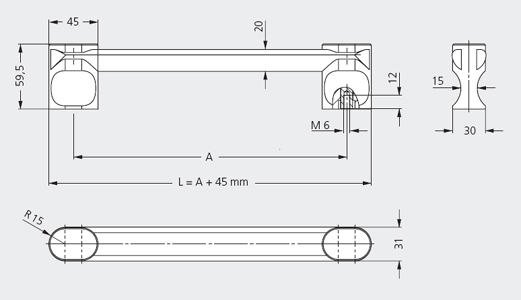 Handles of single elements, Handle Series VM-30 Dimensional drawing 2D