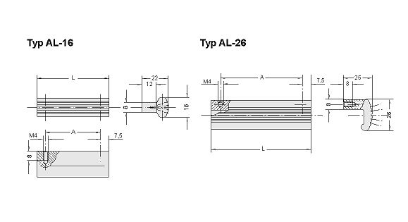 Front panel handles, ledge handles and casing feet, Ledge handles AL, natural coloured anodized,A=30 Diagram 2D