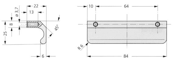 Clean Line, plastic ledge handle KL Diagram 2D