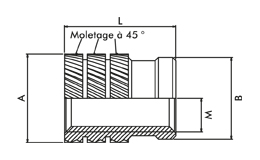 Pressed-In Insert, type 1, M2.5 X 0.45, length 5.3mm Dimensional drawing 2D