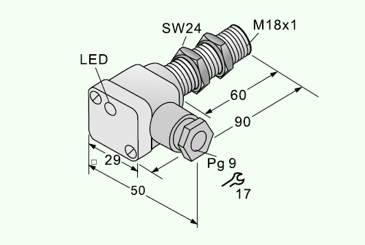 Cylindrical Inductive Proximity Sensor M18-Terminal connection(DC) IBL18-S05NA-D3YT Dimensions of 5mm 2D