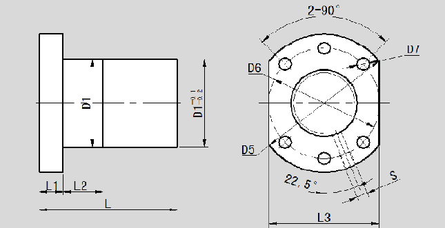 Single Nut With Flange Type F LL0802.5F-0 Dimension 2D