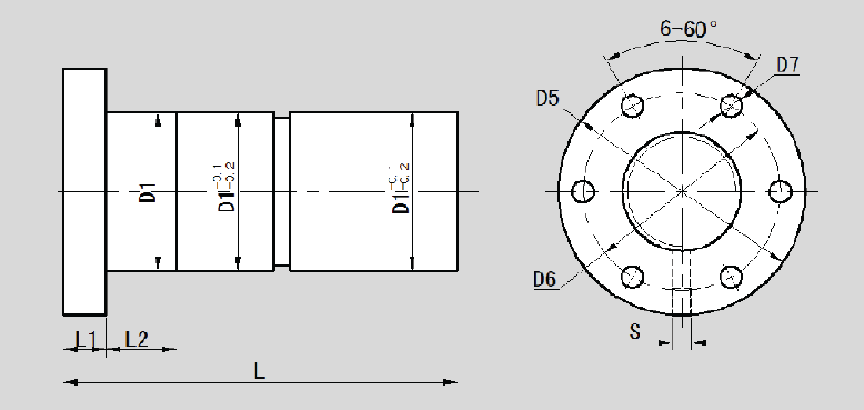 Double Nut With Flange Type N LLD1605N-0 Dimension 2D