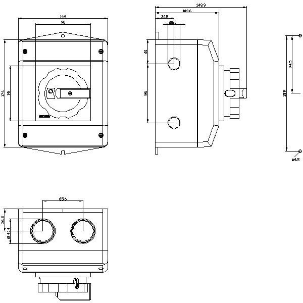 Main control switch 3-pole IU=63, P/AC-23A 22kW 1NO+1NC, rotary actuator black G_I202_XX_32571 2D