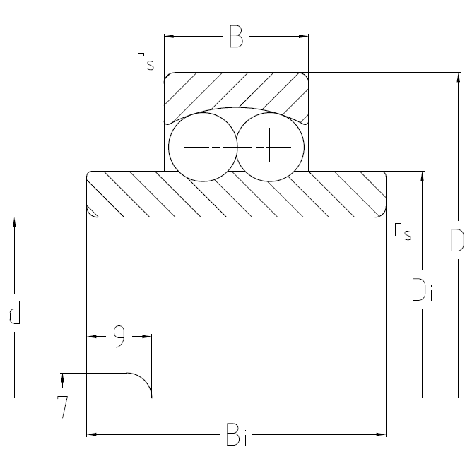 Self aligning ball bearings with wide inner ring Dimensional drawing 2D