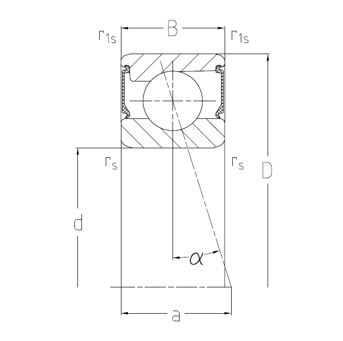 Spindle bearings with two shields (2RSD) Dimensional drawing 2D