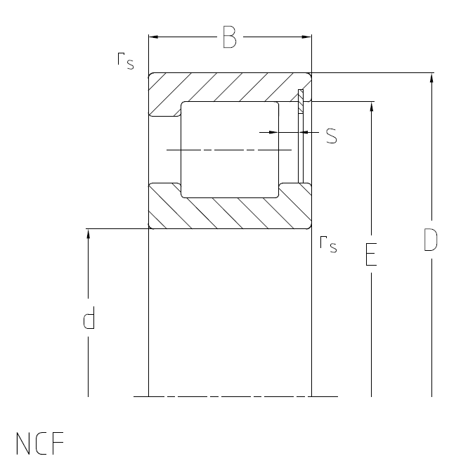 Cylindrical roller bearings NCF, full-complement, single row, supporting bearing Dimensional drawing 2D
