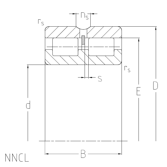 Cylindrical roller bearings NNCL, full-complement, double row, floating bearing Dimensional drawing 2D