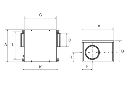 Acoustic cabinet fans, type CVB-350/125 Drawing 2D