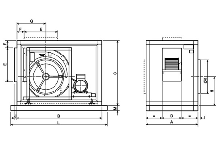 Belt driven cabinet fans, type CVST-10/6 in horizontal position Drawing 2D